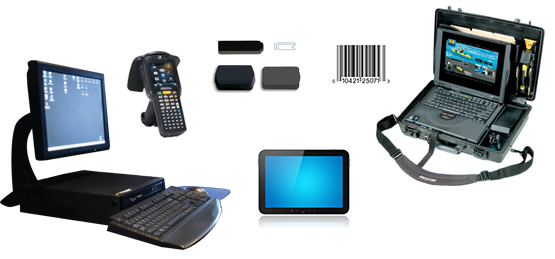 laptop and desktop computer, smart tablet, handheld rfid reader, rfid tags, barcode
